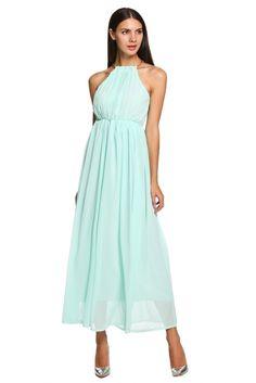 Wholesale Cheap Fashion Ladies Women Sleeveless Elastic High Waist Pure Color Slim Party Beach Maxi Long Chiffon Dress