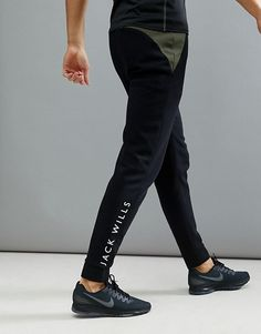 Browse online for the newest Jack Wills Sporting Goods Wexham Color Block Joggers In Black styles. Shop easier with ASOS' multiple payments and return options (Ts&Cs apply). Track Pants Mens, Mens Jogger Pants, Men Trousers, Tactical Wear, Tactical Pants, Mens Fashion Wear, Tracksuit Bottoms, Mens Clothing Styles, Sport Outfits