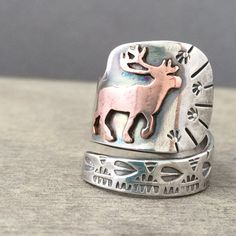 Wandering elk ring  statement ring  animal ring  totem by prox