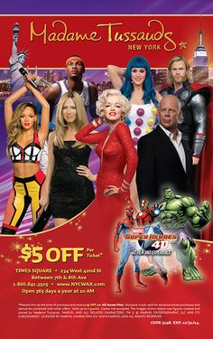 Madame Tussauds New York Coupon Madame Tussauds, Coupon, Movies, Movie Posters, New York City, 2016 Movies, Film Poster, Films, Coupons
