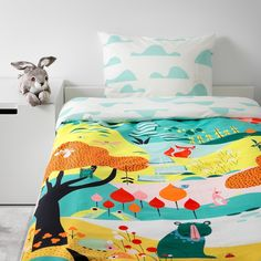 IKEA - LATTJO Duvet cover and pillowcase(s) garden, multicolor Cute Bedding, Linen Bedding, Bedding Sets, Bed Linens, At Home Furniture Store, Modern Home Furniture, Cute Duvet Covers, Kids Bed Linen, Kid Beds