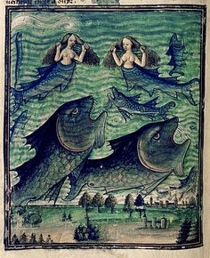 Mermaids, sirens, monster fish, from a French manuscript, ca.1450-70   Bodley MS Douce 134