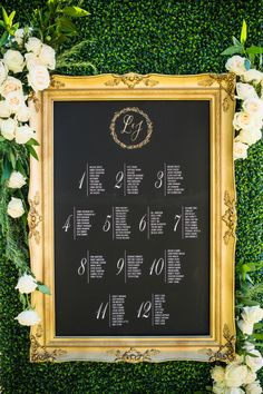 Elegant gold frame seating chart: http://www.stylemepretty.com/california-weddings/paso-robles/2016/03/26/sophisticated-vineyard-wedding-with-a-touch-of-glam/ | Photography: Viera Photographics - http://vieraphotographics.com/