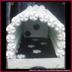 Dollar Store Crafter: Turn Empty Soda Pop Bottles Into A Dog House For Fido Crochet Flower Headbands, Diy Headband, Crochet Flowers, Plastic Bottle Crafts, Plastic Bottles, Pop Bottles, Diy Bracelets Elastic, Diy Dog Bed, Dog Furniture