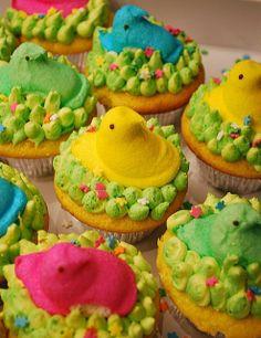 Colorful Easter Peeps Cake, Flower Peeps Cupcakes Design, Easter Peeps Cake For Spring