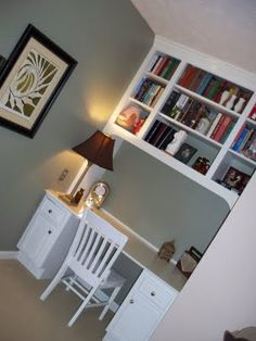 Desk  shelves one side of chimney breast, fitted wardrobe other, 2 bookshelves in unused fireplace