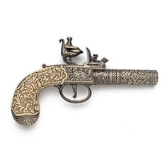 18th and 19th Century Guns   18th Century Engraved Flintlock Pistol - Brass