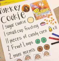"""A Visual Recipe For Turkey Cookies- cute snack activity for November classroom Fat Turkeys"""" Activities For Your Elementary Special Education Classroom Thanksgiving Books, Fall Preschool, Thanksgiving Crafts For Kids, Thanksgiving Activities For Preschool, Kindergarten Thanksgiving, November Preschool Themes, Turkey Kindergarten, Preschool Cooking, November Crafts"""