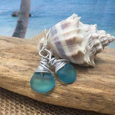 Aqua Sea Glass Earring Beach Glass Jewelry by SeasideJewelry1