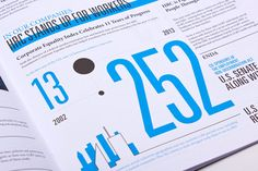 condensed numbers of varying sizes - useful for schoolwide surveys; also i really like the city concept on the bottom left Annual Report: Human Rights Campaign 2012