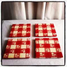 Coasters - Red and White Checkered Vintage Table Cloth Print - Set of 4. $20.00, via Etsy.