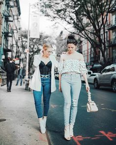 Check out this denim duo! @mimosasmanhattan do street style in #ParkerSmithJeans. BOMBSHELL CROP in Running Tide (left). AVA SKINNY in Conductor (right).