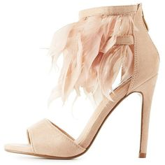 Cape Robbin Feather Two-Piece Dress Sandals (82 RON) ❤ liked on Polyvore featuring shoes, sandals, heels, nude, open toe heel sandals, nude shoes, heeled sandals, ankle strap shoes and nude open toe shoes