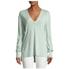Theory Adrianna R. Cashmere Sweater ($265) ❤ liked on Polyvore featuring tops, sweaters, green, knitwear, green pullover sweater, green sweater, theory sweater, cashmere v-neck sweater and cashmere sweater