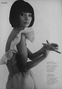 1963 - Hiroko Matsumoto in Pierre Cardin dress Photo by William Klein for Vogue March