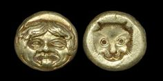 ANCIENT GREEK COINS - LESBOS - MYTILENE - ELECTRUM GOLD GORGONEION HECTE Circa 370 BC. Obv: head of Gorgoneion facing. Rev: incuse head of lynx facing. 2.50 grams. Extremely fine. Very rare.