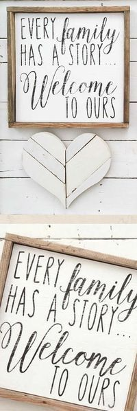 Every Family Has a Story... Welcome to Ours wood pallet sign, farmhouse decor, family decor, gift idea, farmhouse wall art, #rusticdecor #rustic f#armhousestyle #modern #farmhouse #wallart #Framedsign #homedecor #diy #ad #ss