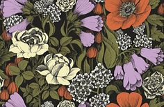 Oodi Pink Orange (17921) - Marimekko Wallpapers - A bold and beautiful floral design with large scale flowers.  Shown here in the vibrant clover pink and orange against a dark black background. Paste the wall. Please request sample for true colour match.