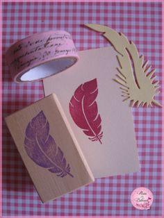Tampon plume - feather tampon gravé à la main