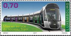 Sello: Tramway (Luxemburgo) (Inauguration of Tramway & Pfaffenthal-Kirchberg Funicular) Mi:LU 2153