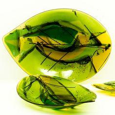 Glass-fusion centrepiece - 'Foglie' series