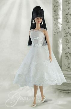 """Barbie, wearing a """"White Cocktail"""" dress by Gwendolyn's Treasures"""