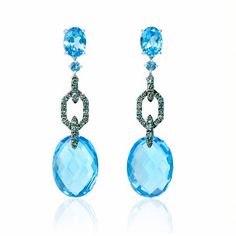 Green Diamond and Blue Topaz 18k White Gold and Black Rhodium Dangle Earrings