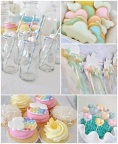 Rainbow Clouds Craft Party with Such Cute Ideas via Kara's Party Ideas KarasPartyIdeas.com #rainbowparty #cloudparty #rainbowsandclouds #rai...
