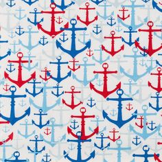 Red White & Blue Boat Anchors By the Yard by karensbedandbath Blue Black Hair Color, Red White Blue, Big Soft Curls, Blue Boat, Hobby Supplies, Cotton Quilting Fabric, Fabric Online, Printing On Fabric