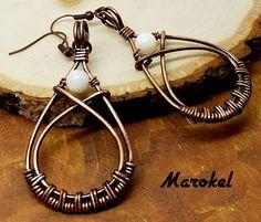 Copper Wire Weave Earrings teardrop dangle Oxidized metal