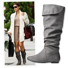 I still love no-heel boots.  This gray boot is cute!  No rhyme intended...:)