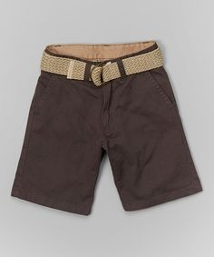 Look at this Charcoal Belted Shorts - Toddler & Boys on #zulily today!