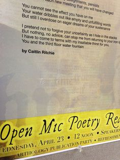 Open Mic Poetry Reading and 2014 Senior Creating Writing Contestants