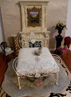 "Miniature Artisan Made Wrought Iron Bed ""Emilia"", Half Scale, 1:12 Dollhouse Scale, Barbie Scale, 18"" Scale on Etsy, $33.33 CAD"