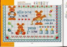 Resultado de imagen para quadretti nascita ricamo tutorial Cross Stitch Charts, Minnie Mouse, Bullet Journal, Kids Rugs, Hobby, Cross Stitch, Kid Friendly Rugs, Cross Stitch Patterns, Mini Mouse