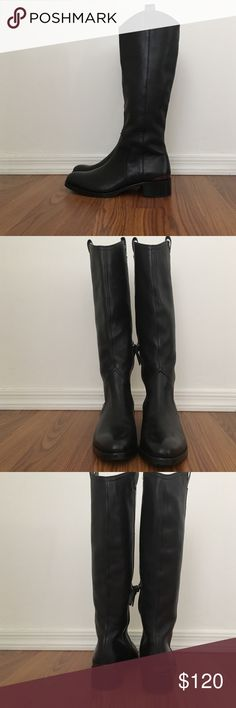 "🎉 HP 🎉 Louise et Cie - Zada Knee Riding Boots Classic equestrian inspired style boots. Size 7.5. True to size. Narrow fit. Wouldn't recommend for wide feet. Pull tabs at top with a side zipper. Almond toe and low stacked heel approximately 1 1/4"" heel. Leather upper with textile lining and synthetic sole. Metallic detail at heel. Excellent condition, barely worn! Louise et Cie Shoes"