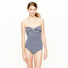 One piece for me this year! No unnecessary sun exposure! and plus its waaaay more classy! This ones from J Crew! It comes with removable straps for a halter look or a classic bandeau!