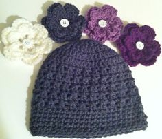 Grey Crochet Hat  Baby Girl Beanie  4 by ValuableCr8tions on Etsy