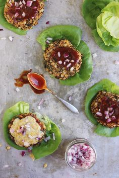 Lettuce-wrapped Barbecue Quinoa Kale + Corn Veggie Burgers with Old Bay Cheddar | With Food + Love