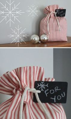 DIY: sac cadeau réutilisable - It's the Most Wonderful Time of the Year . - DIY: sac cadeau réutilisable - It's the Most Wonderful Time of the Year . Christmas Gift Bags, Christmas Sewing, Christmas Crafts, Holiday Gifts, Christmas Holiday, Xmas, Craft Gifts, Diy Gifts, Fabric Gift Bags
