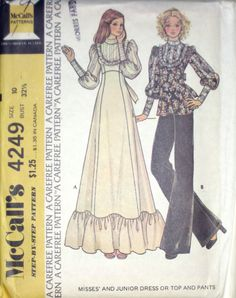VTG 70's McCalls BOHO HIPPIE PRAIRIE Misses Dress Tunic Pant Pattern 4249 s10 UC | eBay