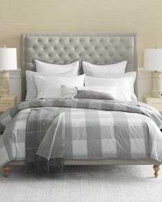 Neutral doesn't have to be boring. Add some extra layers & a dash of pattern in your master bedroom design | Gingham Duvet Cover via Serena & Lily