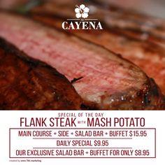 Everyday different #LunchMenu. Wednesday Flank Steak with mash potato $15.95 #SpecialOfTheDay #CayenaRestaurant #Lunch #LunchTime #Wednesday #FlankSteak #MashPotato #DishSpecial #Food #Foodie #Foodporn #steakplace #argentinianrestaurant #miami #menu