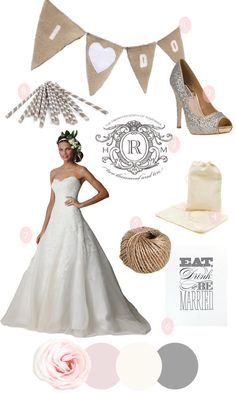 1. Burlap Sign: Say I Do to this adorable sign via Etsy shop Victorian Station    2. Sequin Heels: Every outfit can use a little glitz and glam (including your wedding day frock) and these Badgley Mischka heels will do just that    3. Monogram: This look is alllll about the monogram. We go crazy for Betsy White's Love Logo and it comes in the most gorgeous of invitation choice as well.    4. Muslin Bags: The customized favor bags were just perfect in every way. Try making your own version with these inexpensive muslin bags and a customized stamp from the logo above.    5. Twine: This work horse of the rustic wedding world can be used for just about anything imaginable. Seating cards, wrapped around vases or bouquets, invitations. It's a great way to add texture and give things a more vintage vibe.    6. Eat, Drink and Be Married: This phrase has fast become a classic and for good reason. It's so stinkin cute. Try it out with this sign via etsy shop orangebeautiful    7. Dress: The dress, oh the dress. What could be better for such a romantic affair than this lace number from Watters?    8. Stripy Straws: The perfect way to dress up a drink and guests are sure to feel more festive with a little grey and white poking out of their mason jar. Find them at Modern Lola