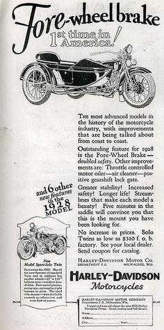 1928 Harley-Davidson Ad.