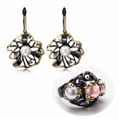 Fashion Set Best Choice!! Beautiful Flower Design Black Gold-color Pearl Ring Trendy Drop Earrings Women Jewelry Earrings Set #Affiliate
