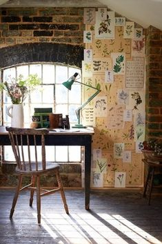Rustic Home Office with Exposed brick wall, Art desk, Restoration hardware - english windsor side chair, interior brick Deco Nature, Interior And Exterior, Interior Design, Decor Inspiration, Decor Ideas, Attic Remodel, Exposed Brick, Beautiful Space, Rustic Design