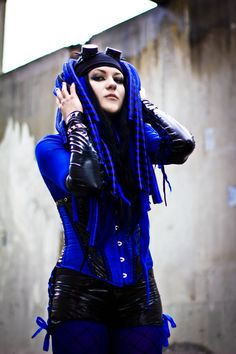 Blue and black #Cybergoth girl by Mysteria Violent