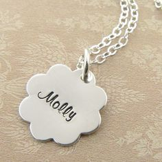 Isn't this adorable?! Personalize Flower Necklace by Prolifique Jewelry $37.00 @Rhonda Reagan