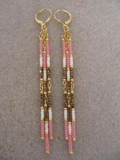 Seed Bead Dangle Earrings- Bronze/Salmon/Cream by wanting